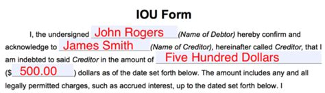 Free I Owe You Iou Template Pdf Eforms Free Fillable Forms I Owe You Contract Template