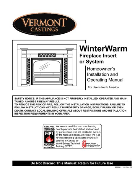 Fireplace Insert Manual by Winterwarm Fireplace Insert Or System Manuals Users Guides