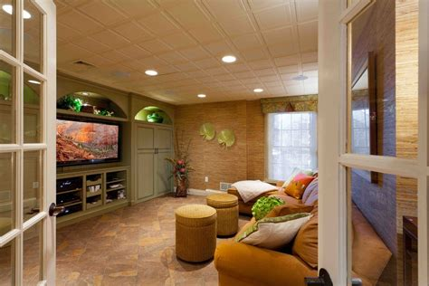 One Story Ranch Style Homes drop ceiling ideas basement tropical with tv area with