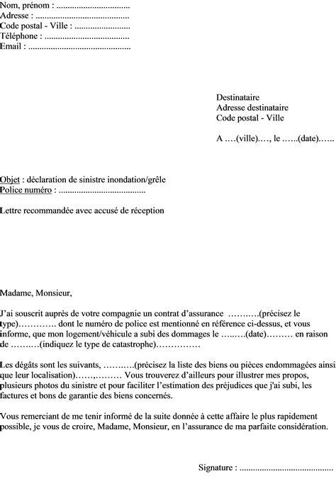 Declaration De Sinistre Modele De Lettre
