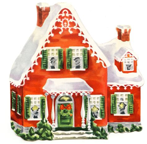 retro clip art darling christmas cottage the graphics