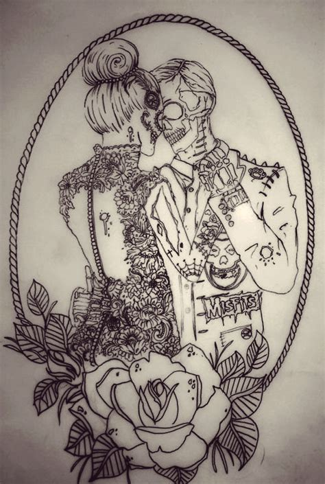 zombie couple tattoos bun drawing image 645926 on favim