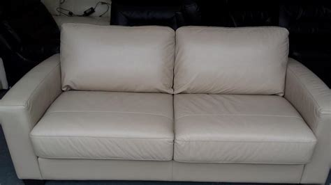 55 inch loveseat ex display dante pebble leather 2 5 seater sofa bed
