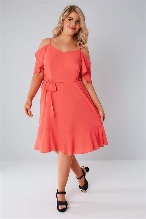 swing dresses coral cold shoulder swing dress with frill hem plus size
