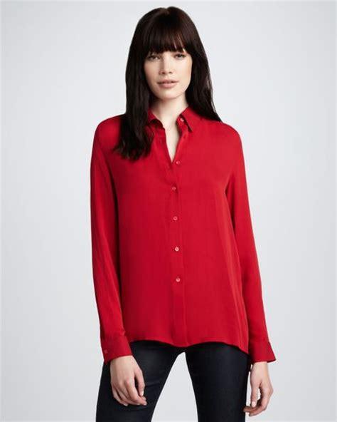 Basic Jumbo Blouse theory basic silk blouse crimson in bright crimson lyst