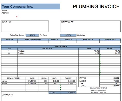 Plumbing Templates Free Invoices In Ms Excel Free Invoice Templates