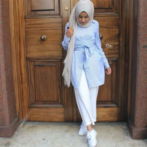 cute hijab outfits  light blue color  trendy girls