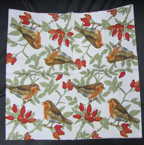 Serviettes For Decoupage - 5 decoupage bird paper napkins serviettes robins ebay