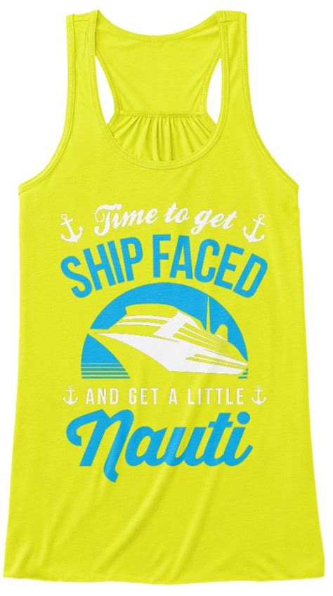 design t shirts for vacation ship faced cruising tank top neon yellow neon and face
