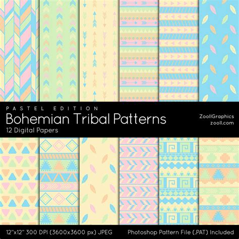 tribal pattern photoshop bohemian tribal pastel edition 12 digital papers 12 x12