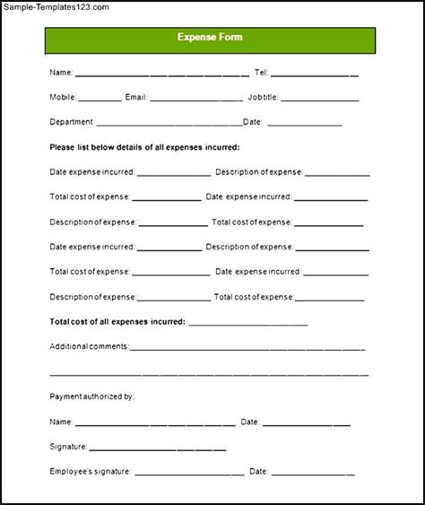 expense report form template sle expense report form sle templates