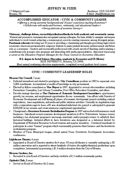 Political Resume Exles by Civic Leader Political Resume Exle