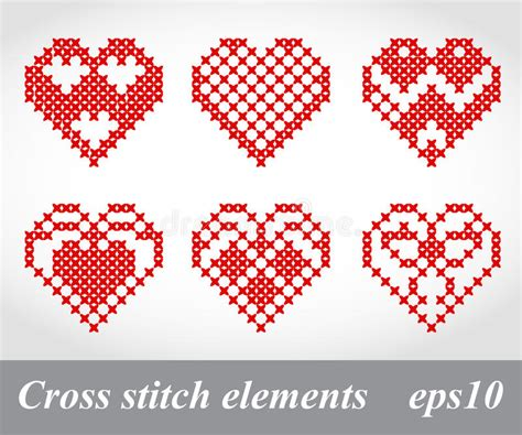 embroidery design vector vector cross stitch embroidery design elements stock