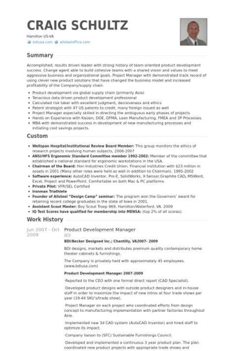 product design cv templates 6 product development manager cv exle visualcv resume