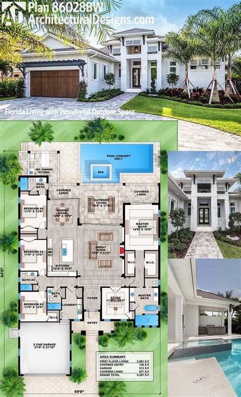 Simple Floor Plan Plan 86028bw Florida Living With Wonderful Outdoor Space