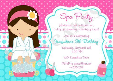 spa party invitation spa birthday party spa invitation