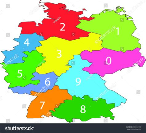 zip code map germany a colored vector map with one digit postal codes of