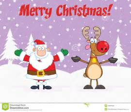 merry christmas greeting with santa claus and reindeer stock photos image 33851863