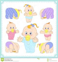 vector illustration of baby boys and baby girls royalty