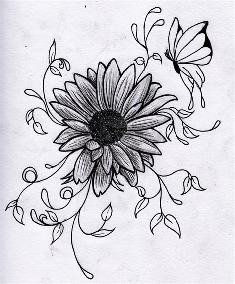 butterfly and sunflower tattoo designs butterfly on sunflower design