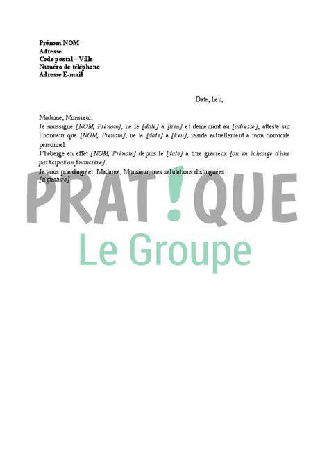 Mod Le De Lettre D Invitation D Hebergement attestation d h 233 bergement pratique fr