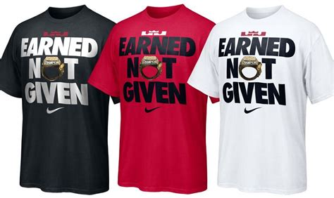 Kaos Tshirt Earned Not Given Nike nike to release lebron earned not given t shirt