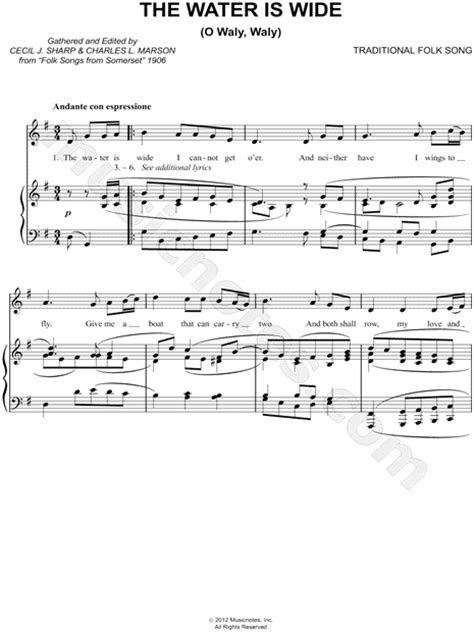 """English Folk Song """"The Water Is Wide"""" Sheet Music in G"""