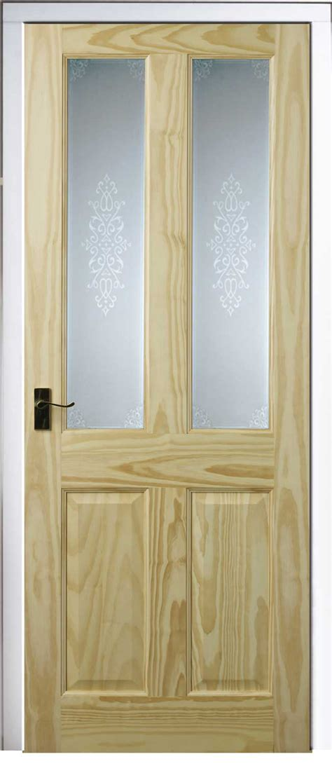 Cheap Glazed Interior Doors 4 Panel 2 Light Pine Doors