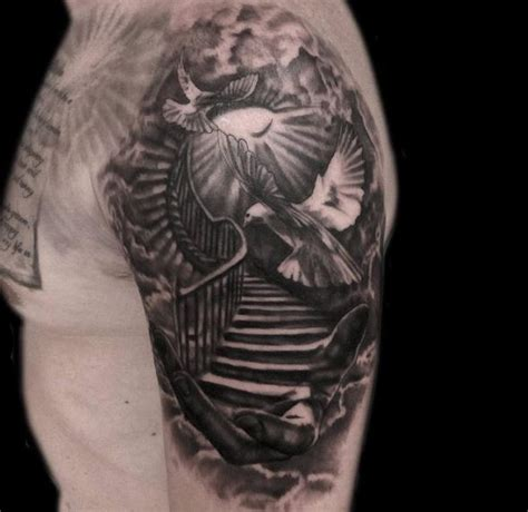 stairway to heaven tattoos 50 aneglic heaven tattoos ideas and designs 2018