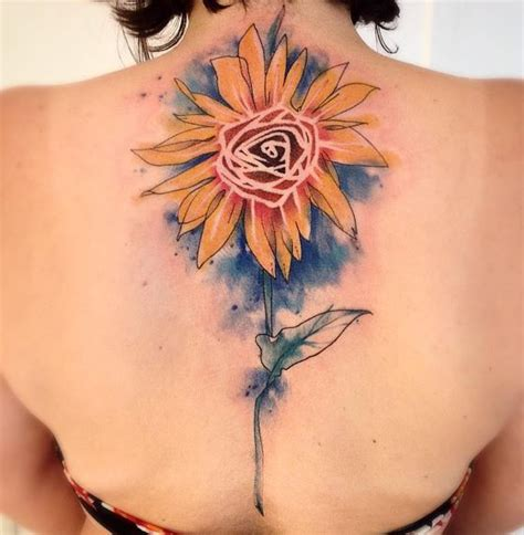 watercolor sunflower tattoo inkstylemag