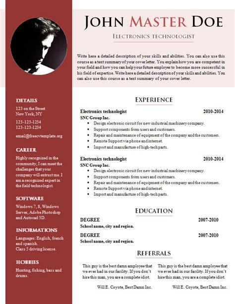 free resume sles doc free cv template 681 687 free cv template dot org