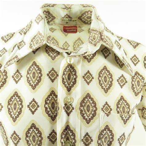 vintage 70s disco shirt mens m manknit retro print white