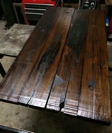 table top made from railroad ties these were milled