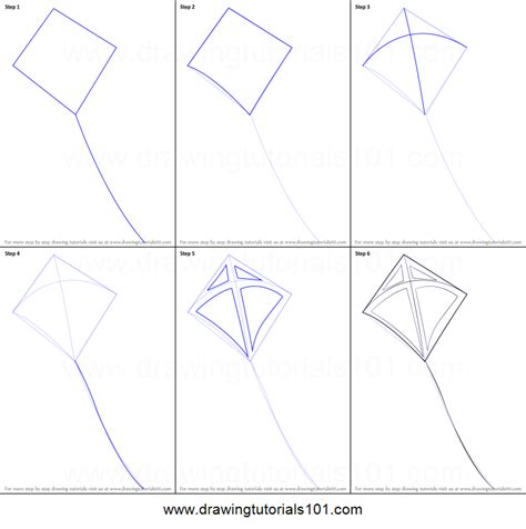 How To Make Paper Kites Step By Step - how to draw a kite printable step by step drawing sheet