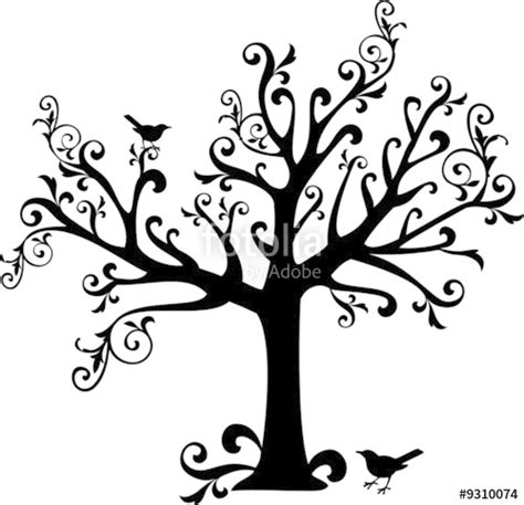 Wall Stickers Tree Branches quot ornamental tree with swirls and birds quot im 225 genes de
