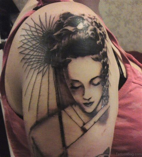 65 graceful geisha tattoos on shoulder