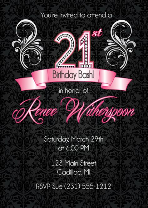Templates For 21st Birthday Cards by 21st Birthday Invitation 21st Birthday Invitation