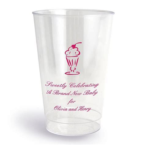 12 oz Clear Plastic Baby Shower Cups Personalized (Set of 50)