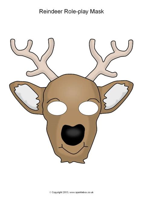 printable reindeer mask reindeer role play masks sb10279 sparklebox