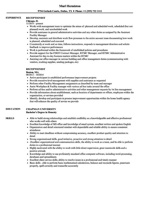 resume sample customer service representative receptionist