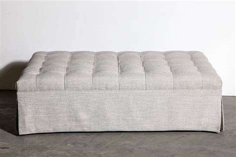 Large Tufted Ottoman Large Custom Tufted Ottoman In New Nate Berkus Linen For Sale At 1stdibs