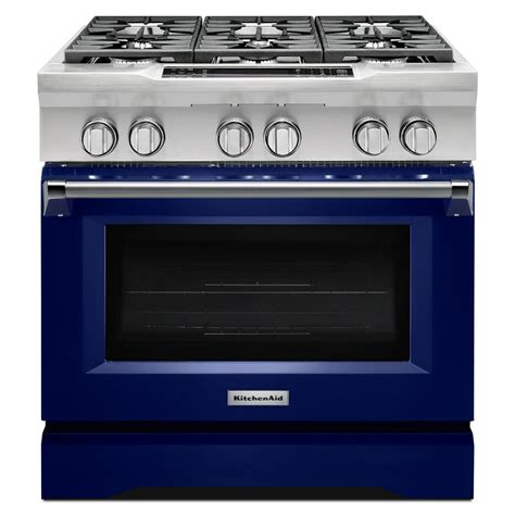 Oven Gas 2 Tingkat kitchenaid 36 in 5 1 cu ft dual fuel range with