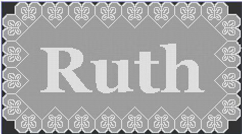 name doily pattern filet crochet ruth name doily