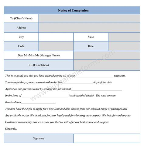 Notice Of Completion Form Notice Of Completion Template