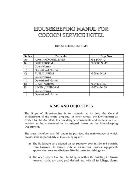 layout of housekeeping department pdf s o p
