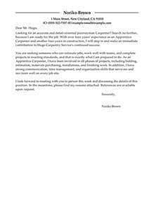 Carpenter Apprentice Cover Letter by Apprentice Carpenter Cover Letter Exles Construction Cover Letter Sles Livecareer