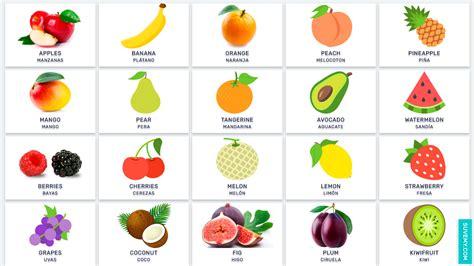 q significa vegetables en espa ol frutas en ingl 233 s y espa 241 ol en im 225 genes fruits
