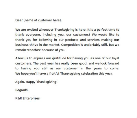thank you letter to our customers sle thank you for your business letters 7 sles