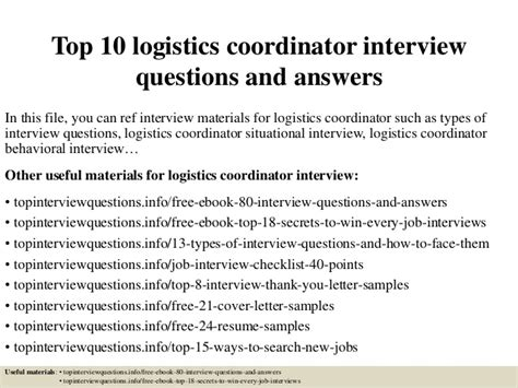 What Does A Cover Letter Entail by Top 10 Logistics Coordinator Questions And Answers