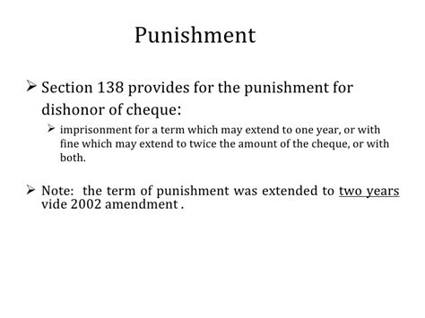 section 138 punishment section 138 of the negotiable instruments act